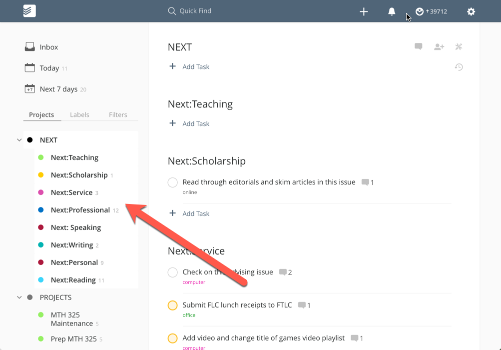 ToDoist Next actions project